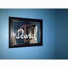 Cricut Vinyl lettering on mirror