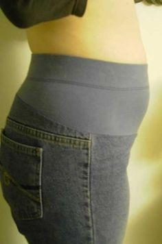 DIY Maternity Pants. (For the jeans I love with the broken zipper...)