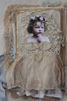 Art journal inspiration. Vintage, fabrics, laces.