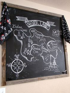 neverland island chalkboard art for peter pan party