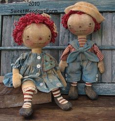 Primitive Raggedy E-PATTERN Old Worn Antique Ann and Andy doll PDF - pinned by pin4etsy.com