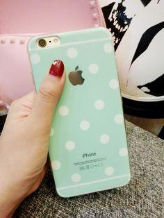 polka dot tpu phone case for iphone 5 6 pink / mint green / white / black / gold