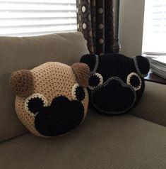 Crochet Pug Pillow by PeanutButterDynamite on Etsy
