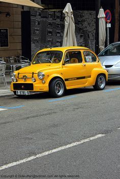 Customized Yellow Abarth by Dolwolfian Fiat 600, Automobile, New Fiat, Fiat Cars, Fiat Abarth, Steyr, Small Cars, Cars And Motorcycles, Peugeot