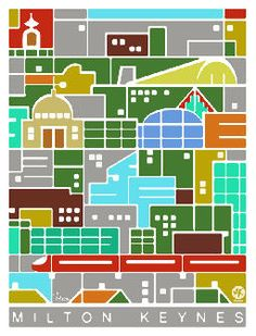 How to depict your city in much more exciting and colourful way. Poster art from Milton Keynes, UK.