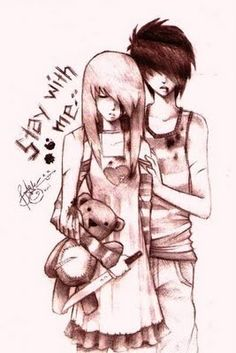 Emo Anime Couples in Love | Anime Emo Couple by ~ SDmofos..this isnt exactly aww but its still kinda cute