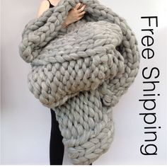 Knitted Chunky Blanket. FREE SHIPPING. Giant Knit Throw. Pure Wool Giant Blanket. Bulky Knit Throw. Extreme Knitting. Merino lap blanket. by WoolCoutureCompany on Etsy https://www.etsy.com/uk/listing/235411461/knitted-chunky-blanket-free-shipping