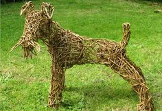 Willow Sculpture of a Fox Terrier dog by Caroline Gregson