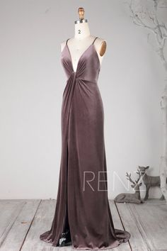 7f08ab81e5 Prom Dress Dark Mauve Velvet Ruched V Neck Bridesmaid Dress ...