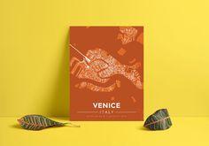Premium Map Poster of Venice Italy - Modern Burnt - Unframed - Venice Map Art