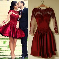 Burgundy Long Sleeve Prom Dresses 2016 Scoop Neckline A line Sexy Backless Short Puffy Lace Prom Dress Homecoming Dress-in Prom Dresses from Weddings & Events on Aliexpress.com | Alibaba Group