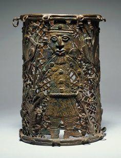 Edo artist Place made: Benin court, Nigeria Bracelet, 18th–19th century Brass h. 13.5 cm., diam. 9.0 cm.