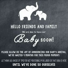 Basic Parenting Etiquette Rules that Should Never be Broken Love this. Very nice way to ask friends and family to wait before announcing your little ones arrival on social media.