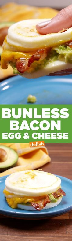 This Low Carb Bunless Bacon, Egg & Cheese is the perfect breakfast for an lchf or keto diet. Get the recipe on www.delish.com/.