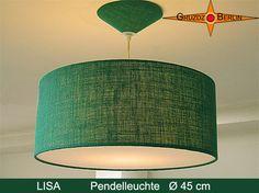 """Leuchte LISA D 45 cm, Pendellampe mit Diffusor und Baldachin aus Jute/Rupfen. LISA verbreitet trotz ihrer grünen, frischen Farbe ein natürliches, warmes Licht.  Wussten Sie, dass Grün der Eigenschaft """"Hoffnung"""" zugeschrieben wird?"""