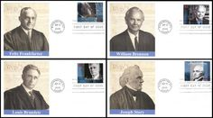 Set includes: 4422a Felix Frankfurter / 4222b William J Brennan, Jr. / 4222c Louis D Brandeis and 4222d Joseph Story. Have description of the stamp subject printed on the back. ARE IN MINT, UNADDRESSED CONDITION.