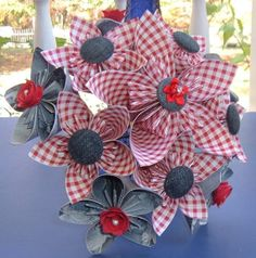 Kusudama Paper Flower Bouquet -11 stems - Red, White, Blue Denim - Patriotic Country