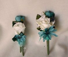 Teal wedding Flowers Silk Corsages and Boutonniere Teal Wedding Flowers, Wedding Flower Photos, Teal Flowers, Silk Flowers, Floral Wedding, Wedding Bouquets, Bridal Pics, Our Wedding, Dream Wedding