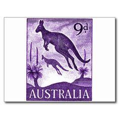 1959 Australian kangaroos postage stamp postcard .Ninepence, pre decimal currency