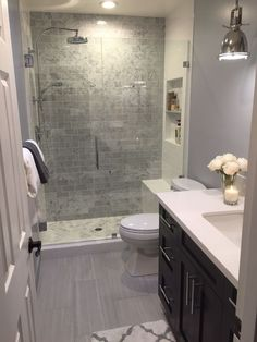 Bathroom remodel shower - 83 inspirational small bathroom remodel before and after 82 Bathroom Renos, Bathroom Interior, Modern Bathroom, Bathroom Vanities, Basement Bathroom Ideas, Small Full Bathroom, Bathroom Cabinets, Showers For Small Bathrooms, Storage In Small Bathroom
