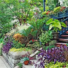 Beautify a Slope-Grassy slopes can be hard to maintain, so turn your front-yard hillside into a beautiful display and keep it easy to care for by covering the slope with your favorite plants. The plantings rising up to the house make a home appear grander Landscape Design, Garden Design, Landscaping A Slope, Landscape Arquitecture, Sloped Garden, Dream Garden, Garden Inspiration, Garden Ideas, Beautiful Gardens