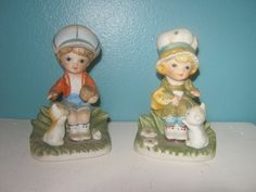 Homco Boy And Girl Ceramic  Figurine Pair With Their Pets #1430-V by junkblossoms2 on Etsy