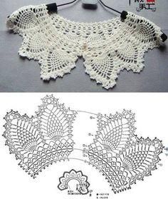 31 Ideas For Crochet Shawl Pattern Basic - Diy Crafts Crochet Collar Pattern, Col Crochet, Crochet Lace Collar, Crochet Lace Edging, Crochet Motifs, Filet Crochet, Irish Crochet, Crochet Shawl, Crochet Yarn