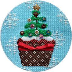 Christmas Cupcake Xmas Tree Needlepoint Ornament by Kirk & Bradley