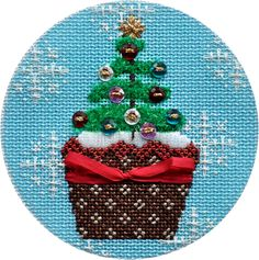 Christmas Cupcake Xmas Tree Needlepoint Ornament by Kirk & Bradley