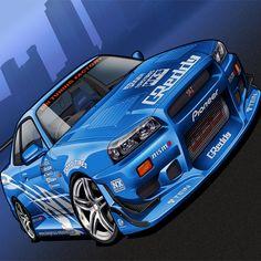 Nissan Gtr R34, Nissan 350z Tuning, Car Tuning, Nissan Skyline, Skyline Gtr, Tuner Cars, Jdm Cars, Car Animation, Car Illustration