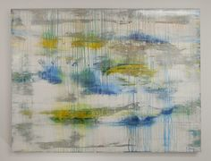 Large acrylic abstract painting composed of soft tones accented with brighter hues in blue, yellow and white. Lisa Carney