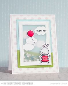 Somebunny stamp set and Die-namics, Polka Dot Background, Stitched Rectangle Frames Die-namics - Stephanie Klauck #mftstamps