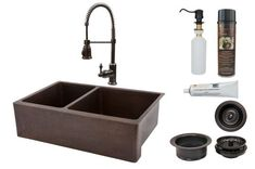 Premier Copper Products - KSP4_KA40DB33229 Kitchen Sink, Faucet and Accessories Package  #coppersink #doublesink #kitchensinkpackages #dreamkitchen