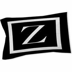 Thumbprintz Classic Block Monogram Sham, Black