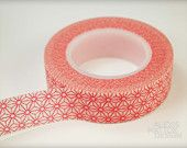 Washi Tape- Red with White Background Starburst Pattern