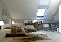 Schlafzimmer Dachschrage Dachfenster Arbeitsbereich Neutrale Farben