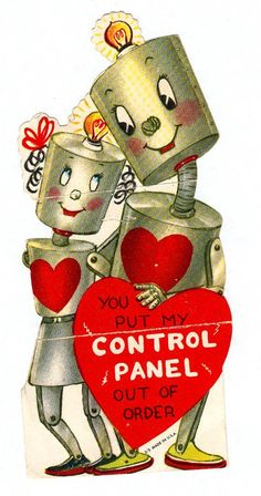 { Vintage Valentine Card / Heart / Retro Valentines / St Valentines Day / Love / Crush / offbeat / fun / sci-fi / fobot / Funny Valentine }