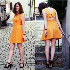 NWT ZARA FLARED DRESS WITH BOW AT THE BACK SS14 Tangerine SIZE XS #ZARA #Casual