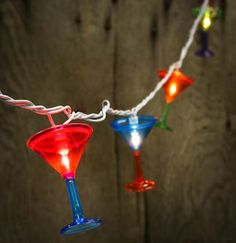 10ct Martini Glass Electric Patio, Garden & Party String Lights - Luau and Beach Theme - Party & Special Occasions