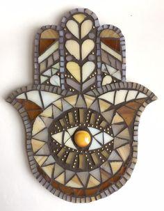 Eclectic Art and Mixed Media Mosaics by EriesArtOddities Hamsa Art, Mosaic Stepping Stones, Mexican Home Decor, Meditation Art, Mosaic Diy, Jewish Art, Hand Of Fatima, Mosaic Projects, Diy Clay
