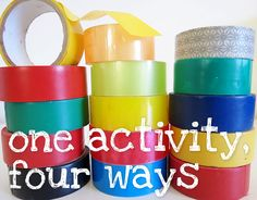 One activity, four ways: Tape It Up! A collection of ideas for using tape for creativity and play for babies through to bigger kids. My kids love tape and stickers! Infant Activities, Educational Activities, Preschool Activities, Toddler Play, Toddler Crafts, Crafts For Kids, All You Need Is, Just In Case, Early Childhood Education