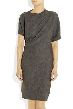 Anthracite alpaca and wool-blend Asymmetric armholes, draping, ribbed trims Slips on 50% alpaca, 50% wool Dry clean