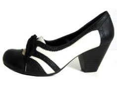 New from Cents of Style! Black and White 2 inch stacked heel  on a menswear inspired oxford laced pump! $27.54 after 10% off code: 0514 at checkout from Cents of Style! FREE Shipping!