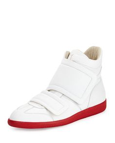 Clinic Grip-Strap High-Top, White/Red by Maison Martin Margiela at Neiman Marcus.