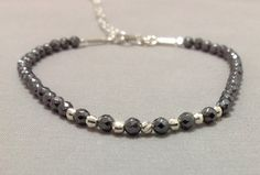 Sterling silver and Hematine beads Bracelet by OritWhiteLight