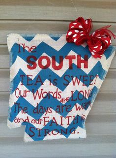 ARKANSANS! Show your Southern Pride with this stylish Arkansas Door Hanger. White burlap with your favorite color chevron paint. I will select a