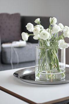 white ranunculus, clear modern vase