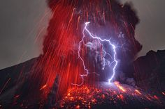 Volcanic lightining  It is a combination of lightning in the middle of vocalnic eruption. It is believed as there are negative charges around the volcano there appears a bolt as erupted positively-charged debris react with the negative. ~ The Wildest Phenomena That Happen on Earth