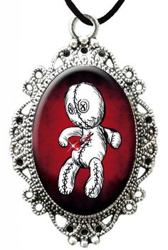 Inked Boutique - Voodoo Love Sparkles Cameo Necklace, Voodoo Doll Punk Goth Psychobilly www.inkedboutique.com