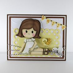 Hello Thinking of you card girl bird by BellaCardCreations on Etsy, $5.00